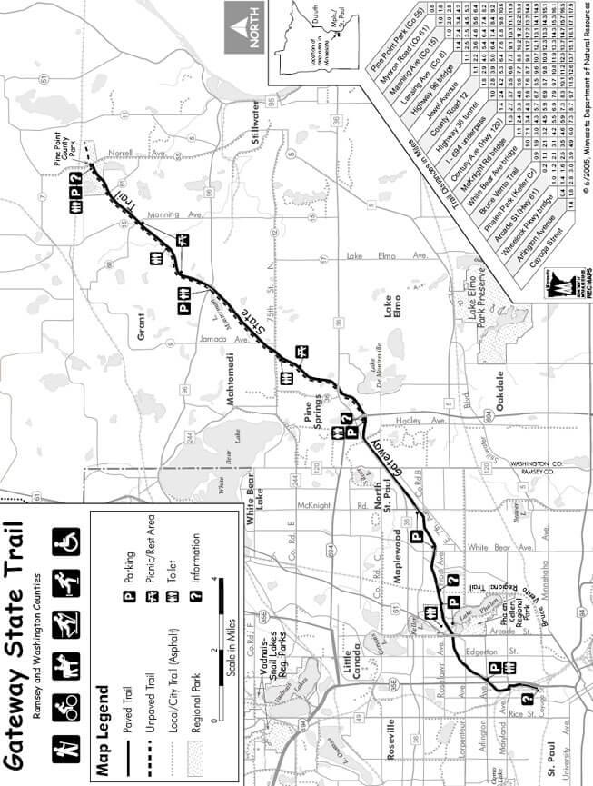 Gateway State Trail Mountain Biking Map