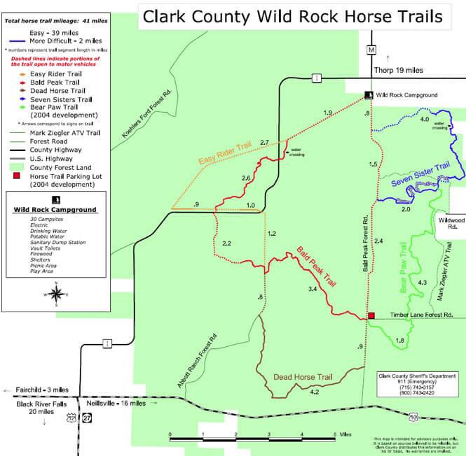 Wild Rock Horse Trail Horseback Riding Map