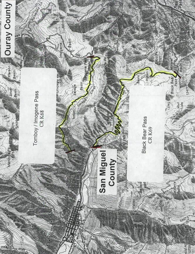 Imogene Pass Road Dirt Biking Map