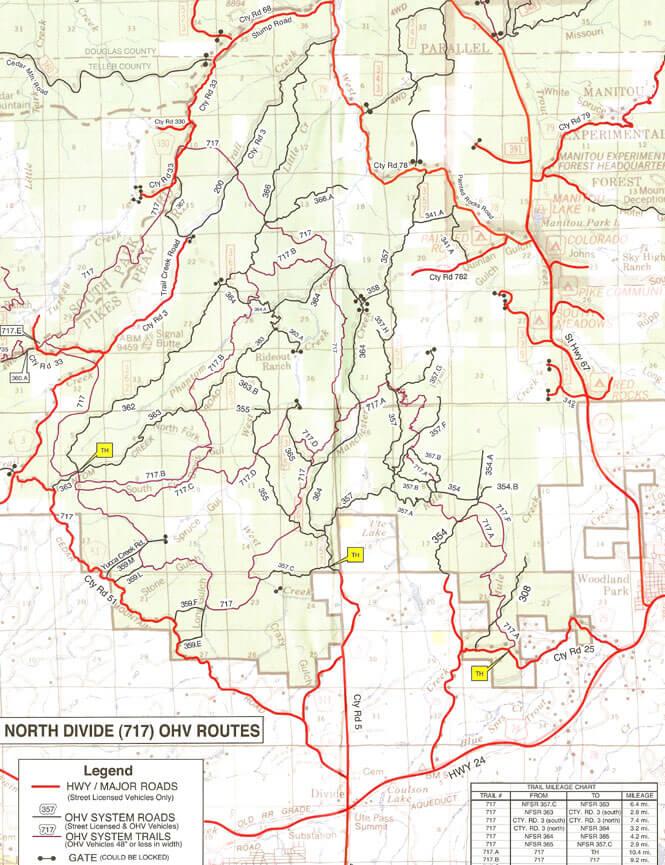 North Divide OHV Area Dirt Biking Map