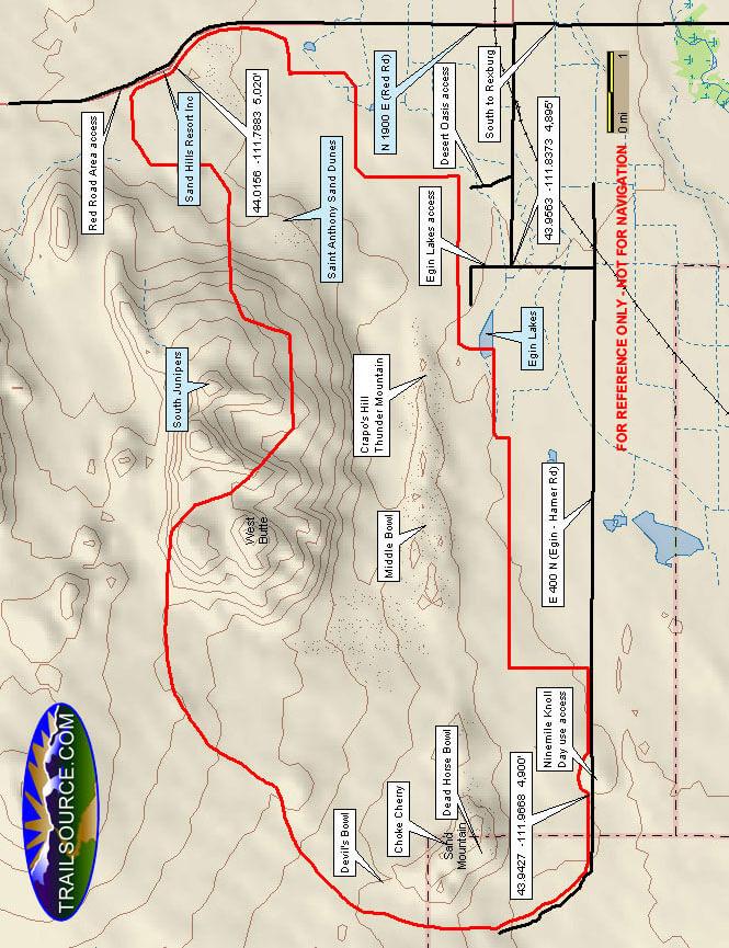 St Anthony Sand Dunes Riding Area Dirt Biking Map