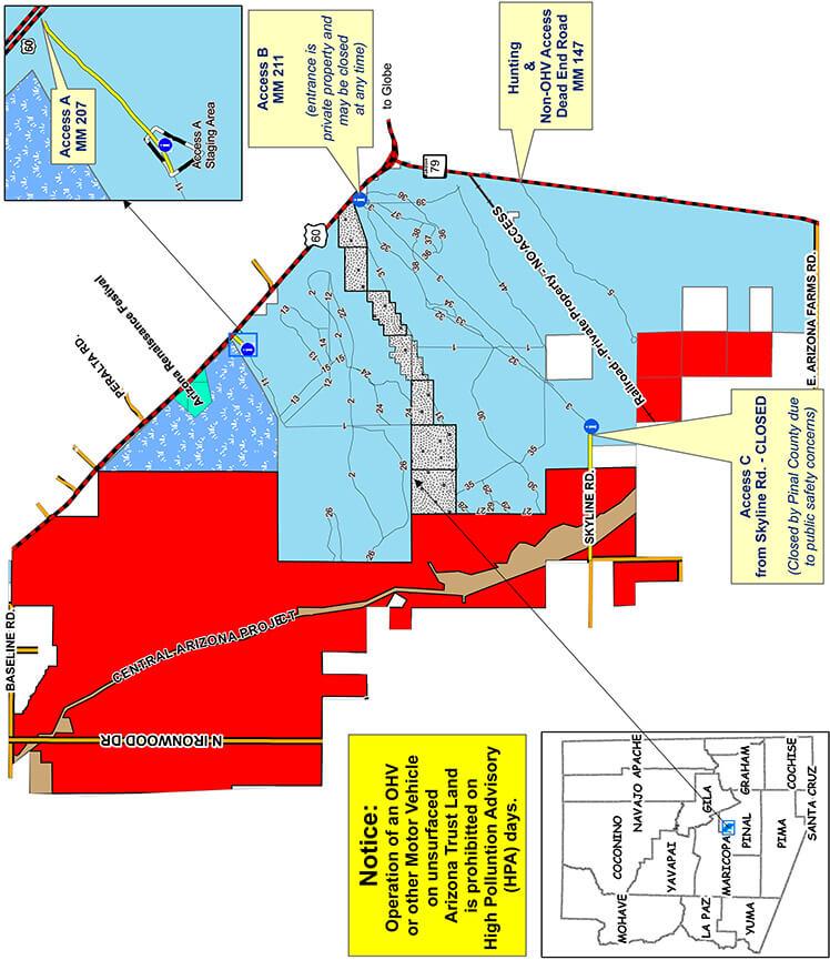Desert Wells Multiuse Area ATV Trails Map