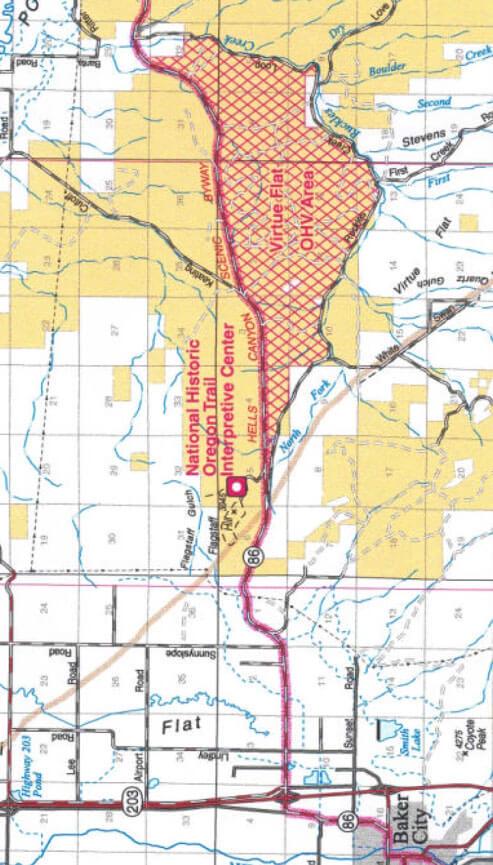 Virtue Flats OHV Area Dirt Biking Map