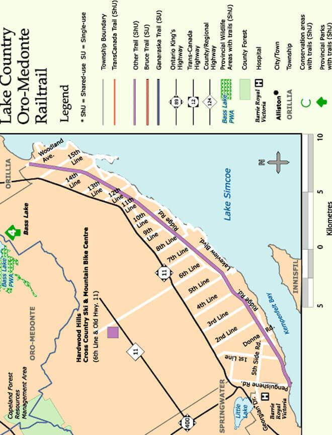Oro-Medonte Rail Trail Snowmobiling Map