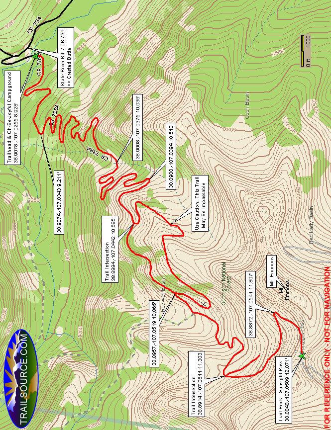 Gunsight Pass Road OHV Driving Map