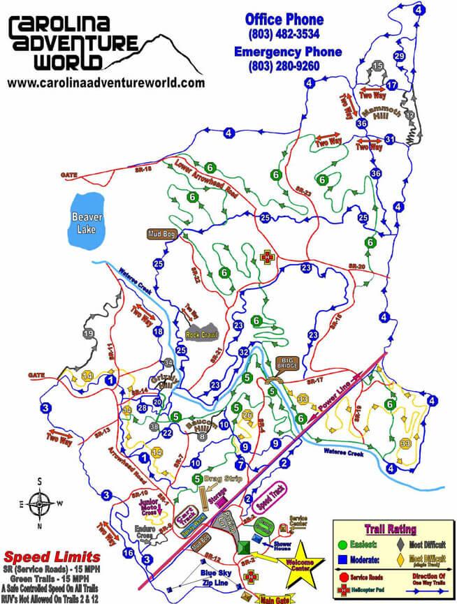 Carolina Adventure World Dirt Biking Map