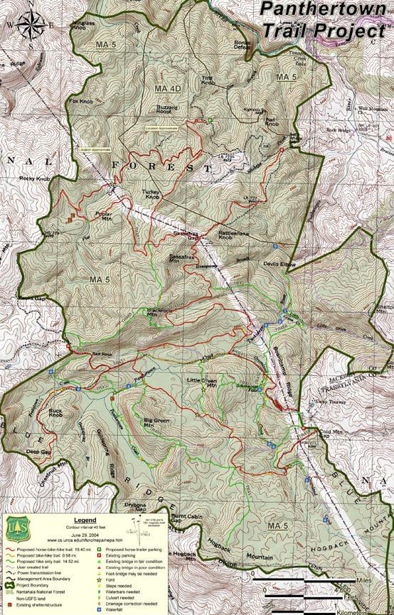 Panthertown Valley Trail System Horseback Riding Map