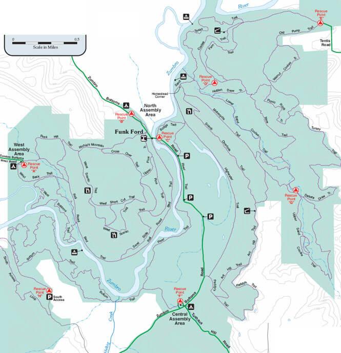 Zumbro Bottoms Horseback Riding Map