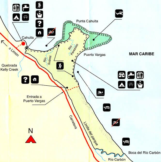 Cahuita National Park Hiking Map