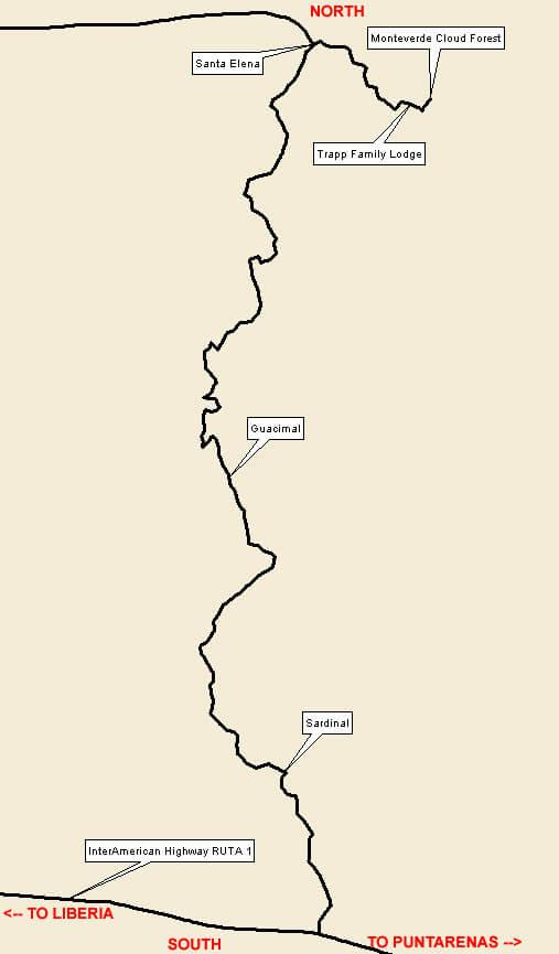 Monteverde / Santa Elena Dirt Biking Map