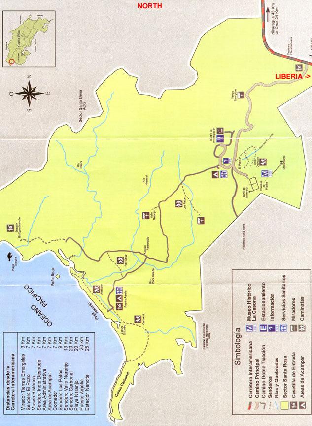 Santa Rosa National Park Horseback Riding Map