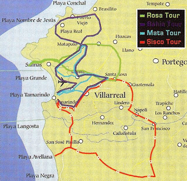 Playa Tamarindo Mountain Biking Map