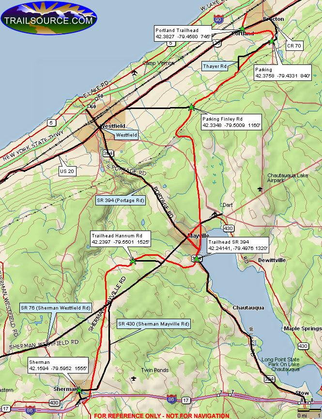 Chautauqua Rails-To-Trails Mountain Biking Map