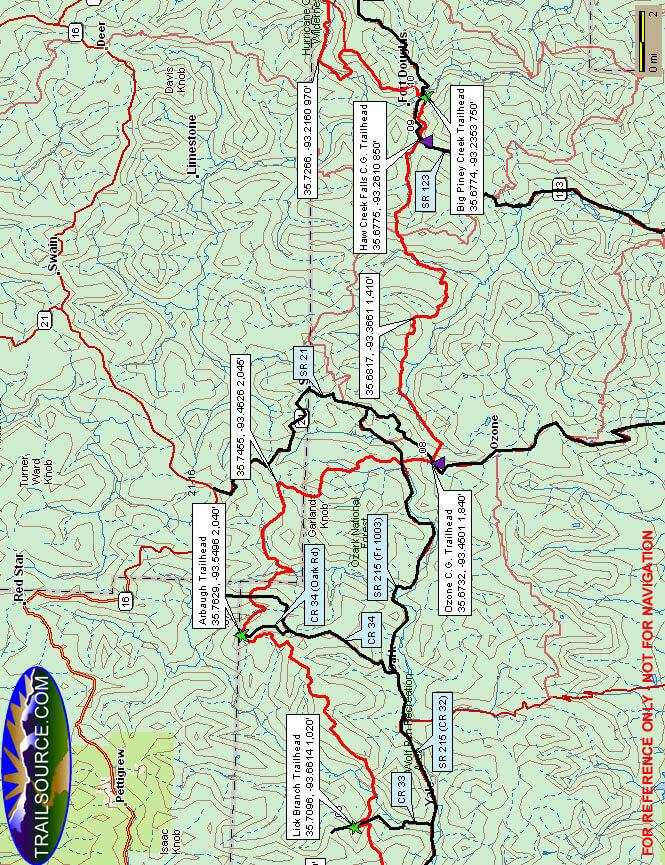 Ozark Highlands Trail - Middle Hiking Map