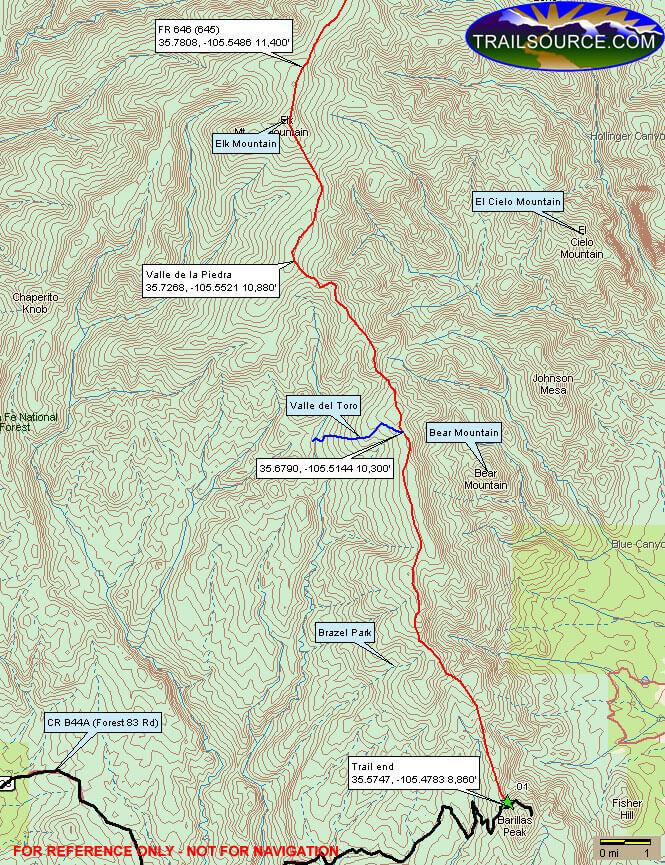 Skyline Trail Mountain Biking Map