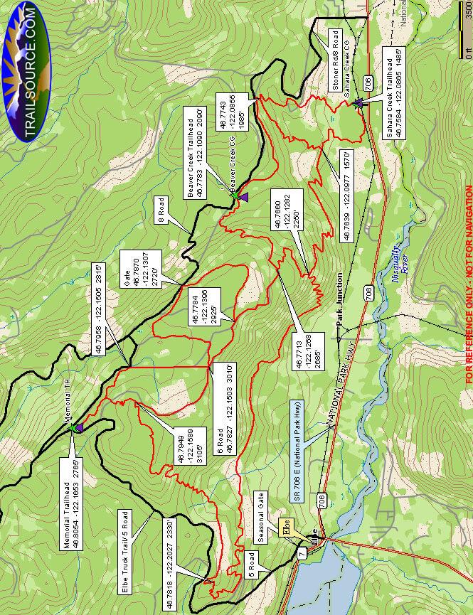 Sahara Creek / Nicholson Horse Trail System Hiking Map