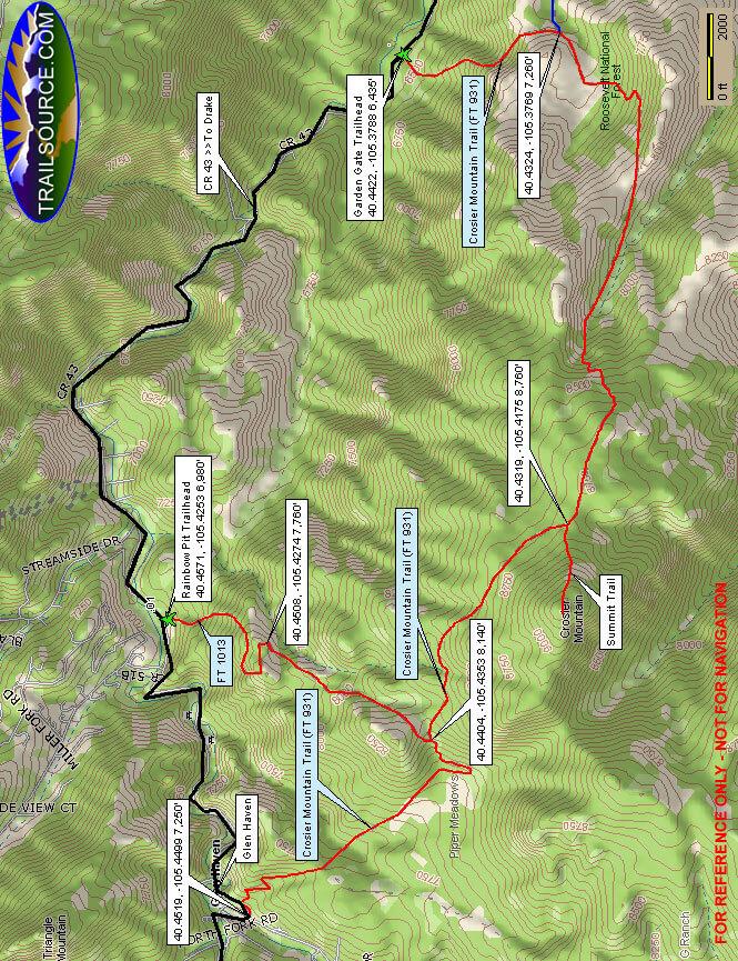 Crosier Mountain Trail Horseback Riding Map
