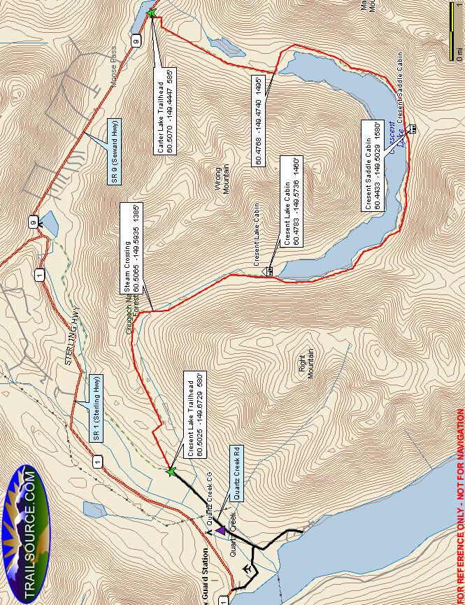 Cresent Lake Trail Mountain Biking Map