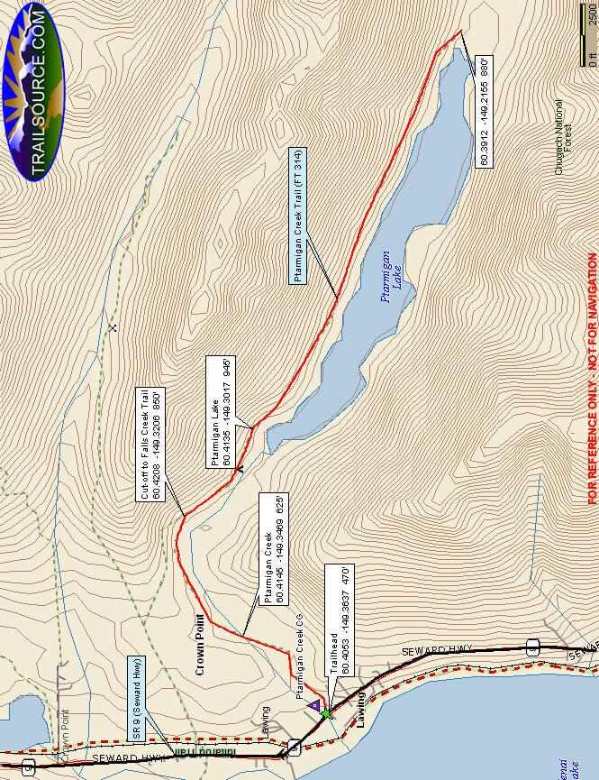 Ptarmigan Creek Trail Hiking Map