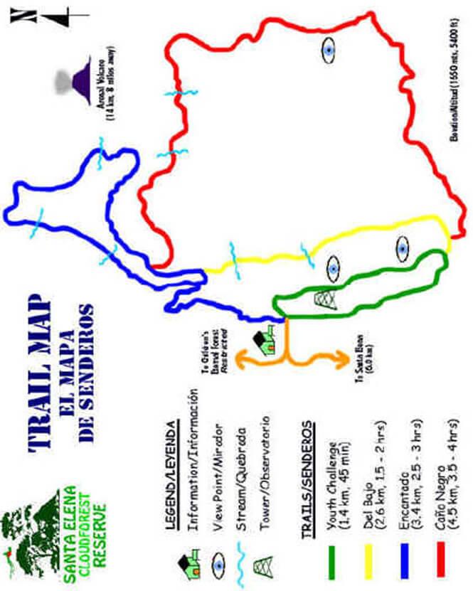 Santa Elena Cloud Forest Reserve Hiking Map