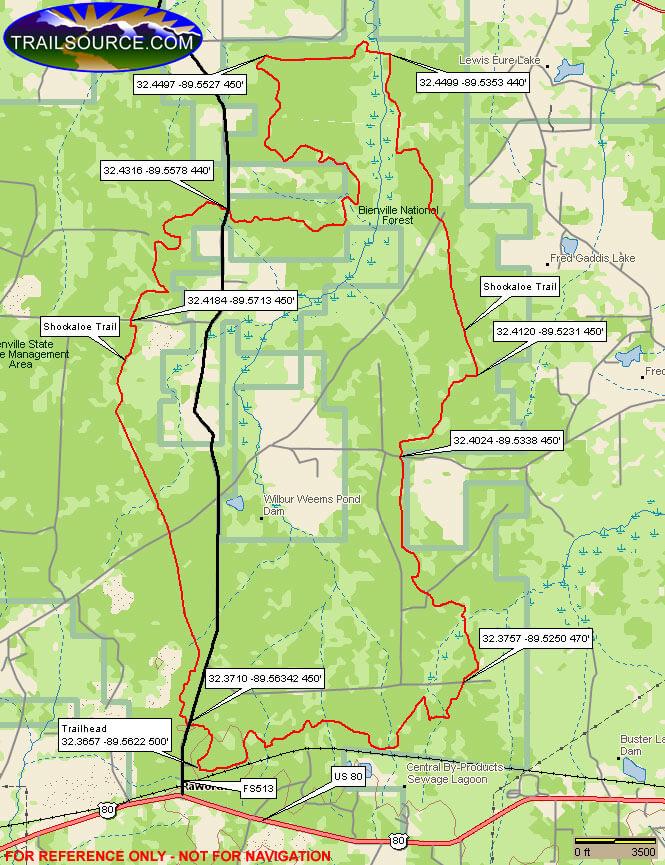 Shockaloe Horse Trail Hiking Map