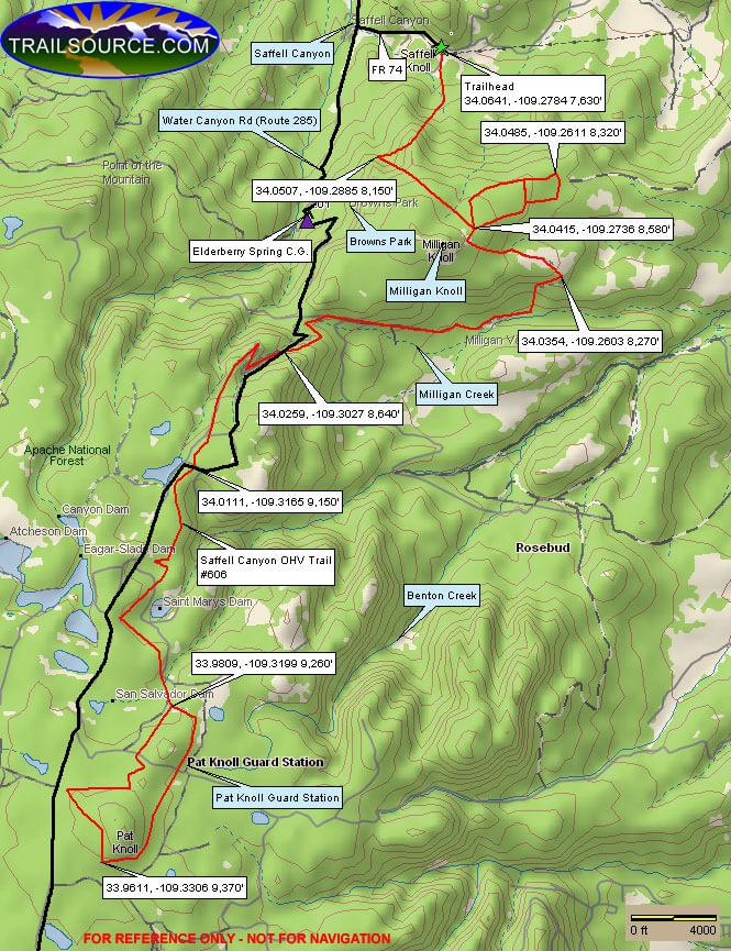 Saffell Canyon Trail Dirt Biking Map