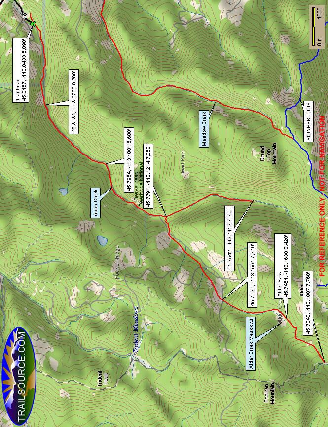 Alder Creek Trail Dirt Biking Map