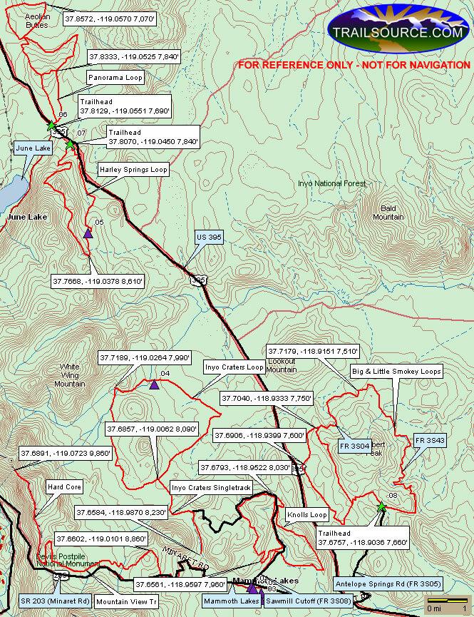 Mammoth Lakes Mountain Biking Map