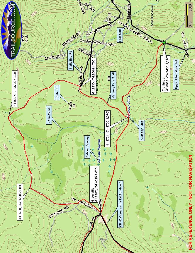 Vernooy Kill Falls Trail Hiking Map