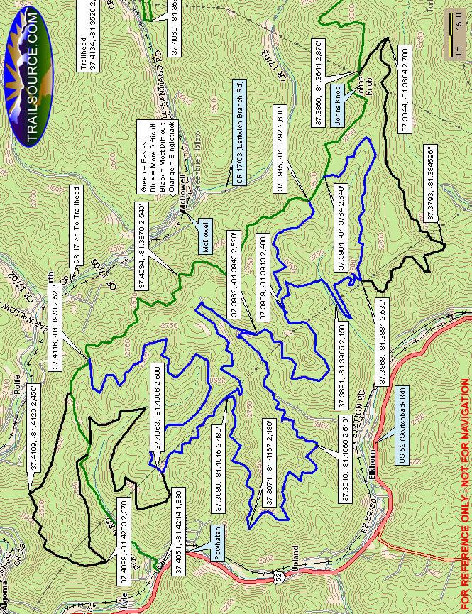 Indian Ridge Trails - West Dirt Biking Map