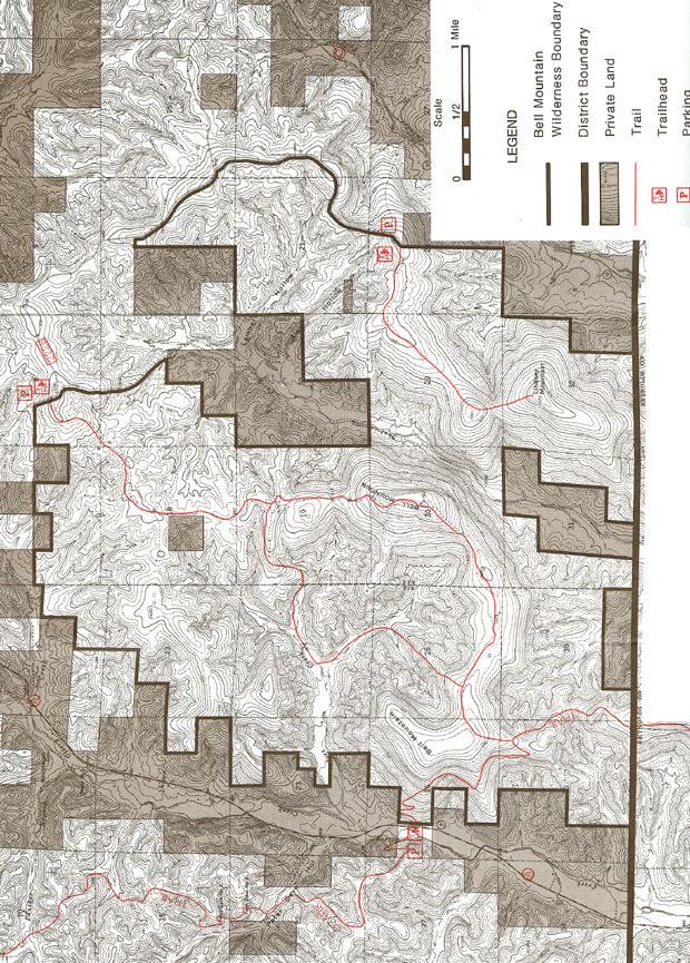 Bell Mountain Wilderness Horseback Riding Map