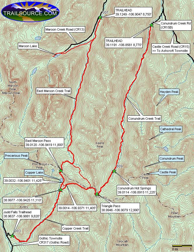 Conundrum Creek Trail Hiking Map