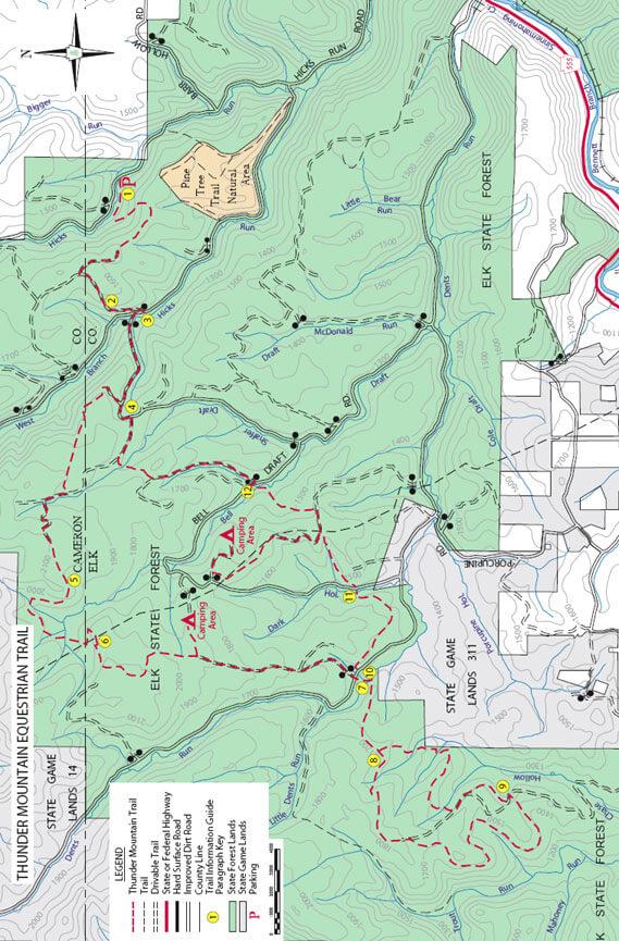 Thunder Mountain Equestrian Trail Horseback Riding Map