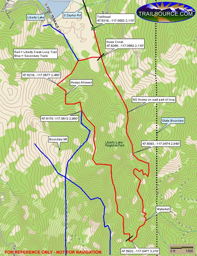 Liberty Lake Regional Park Mountain Biking Map