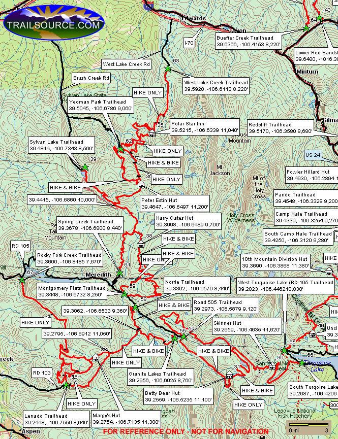 10th Mountain Huts - West Mountain Biking Map