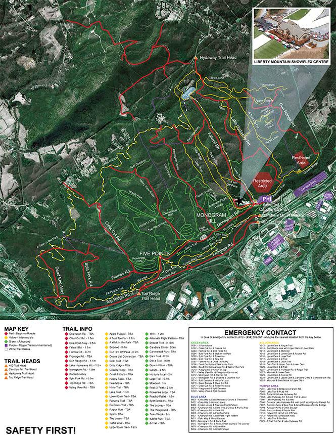 Liberty Mountain Trail System Mountain Biking Map
