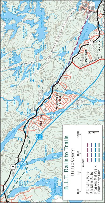 B.L.T. Rails to Trails Hiking Map