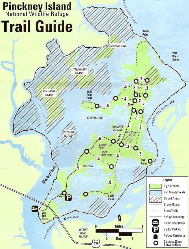 Pinckney Island National Wildlife Refuge Hiking Map