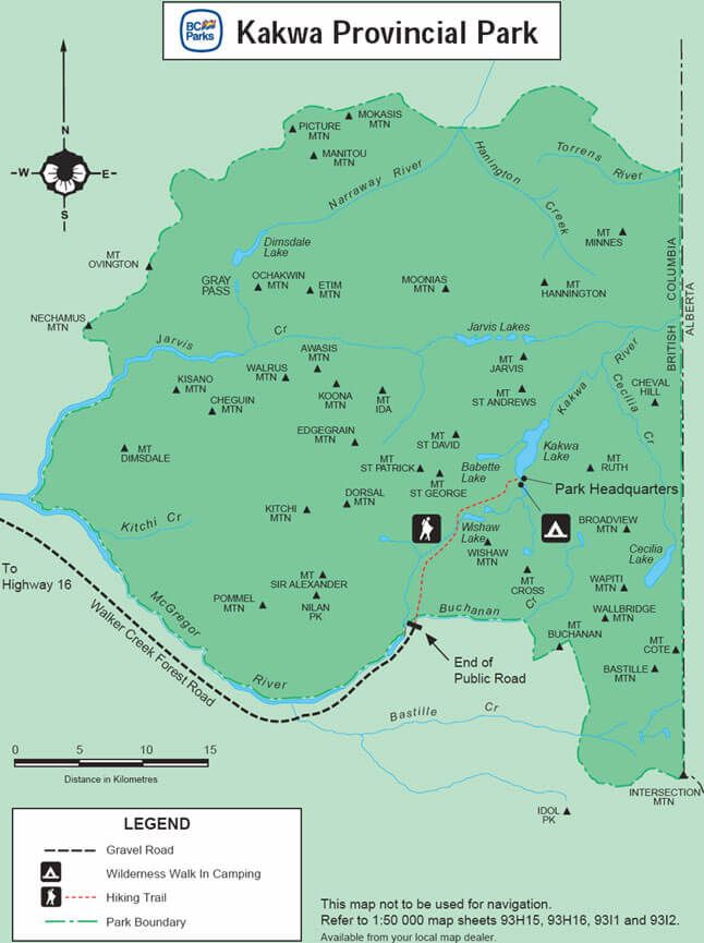 Kakwa Provincial Park Horseback Riding Map