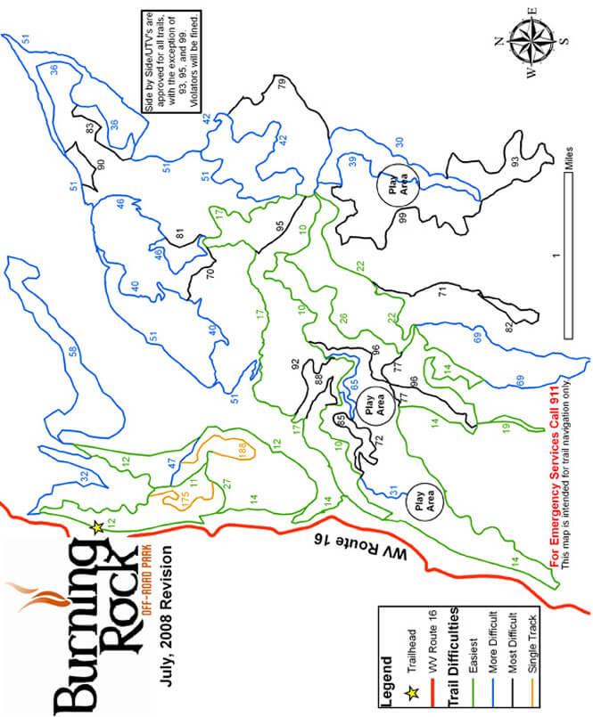 Burning Rock ORV Park Dirt Biking Map