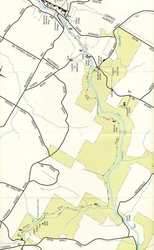 Slippery Rock Gorge Trail Hiking Map