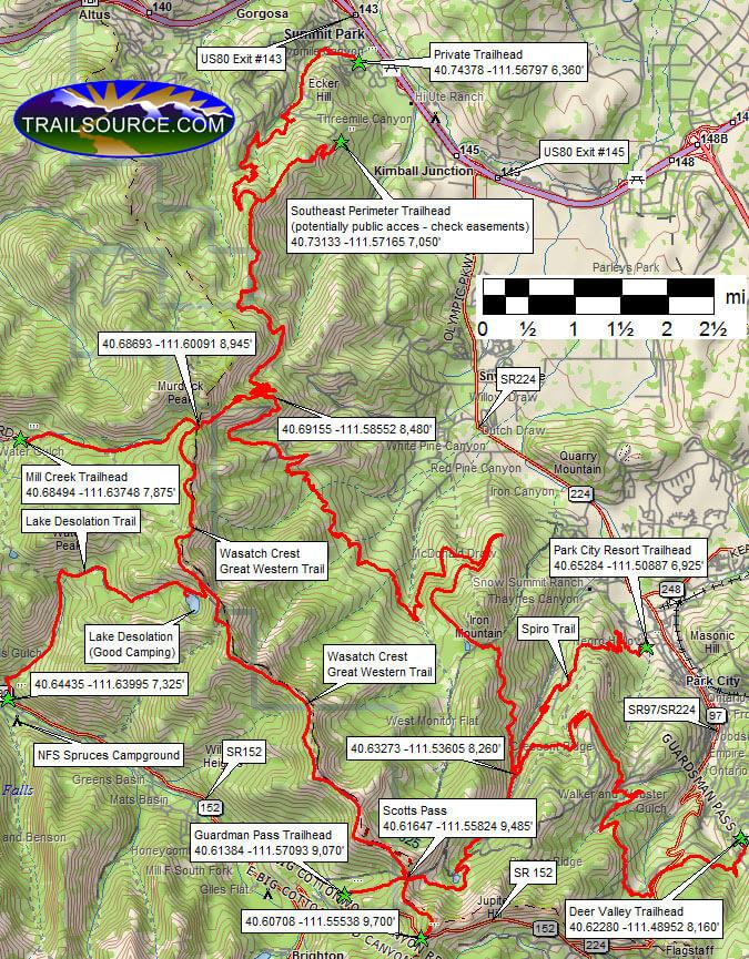 Mid Mountain Trail Mountain Biking Map