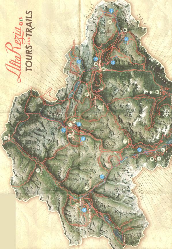 Alta Rezia Mountain Biking Map