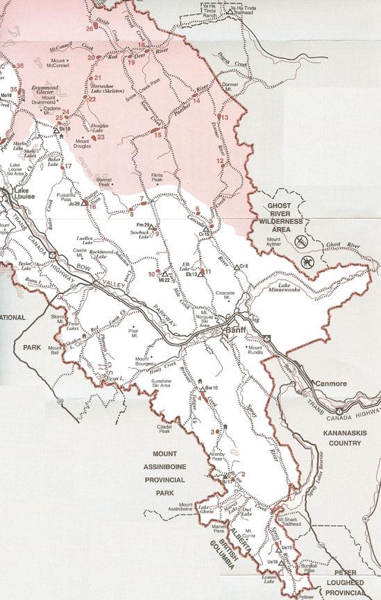 Banff National Park - Southern Horseback Riding Map