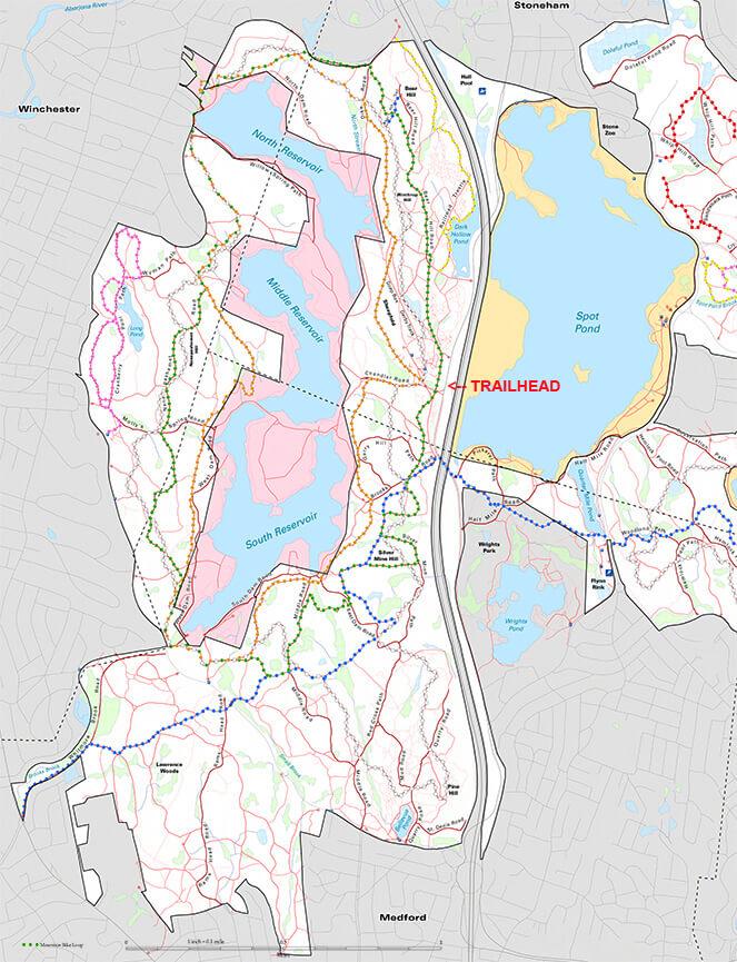 Middlesex Fells Reservation Mountain Biking Map