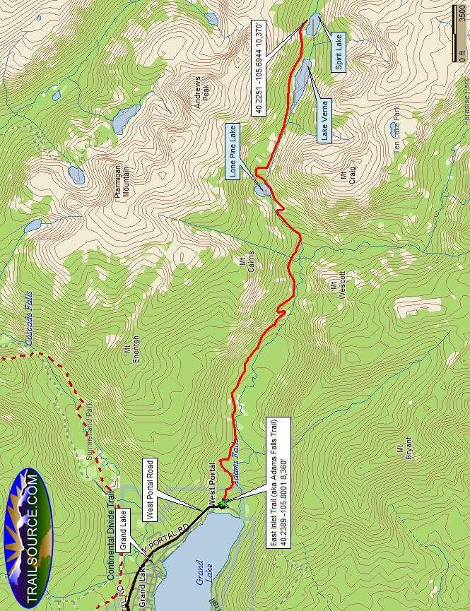 East Inlet Trail / Adam Falls Trail Hiking Map