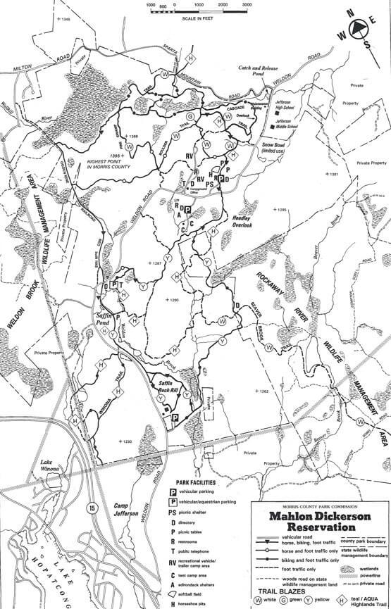 Mahlon Dickerson Reservation Horseback Riding Map