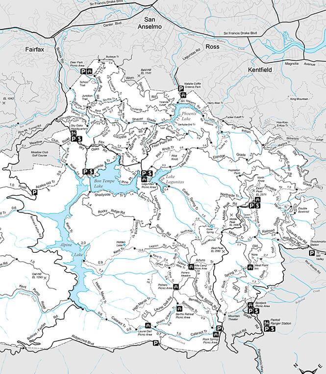 Mt Tam Mountain Biking Map