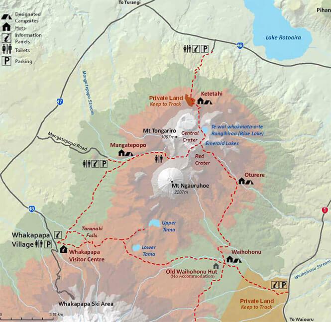 Tongariro Northern Circuit Hiking Map