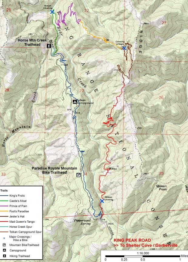 Paradise Royale Mountain Bike Trail Mountain Biking Map
